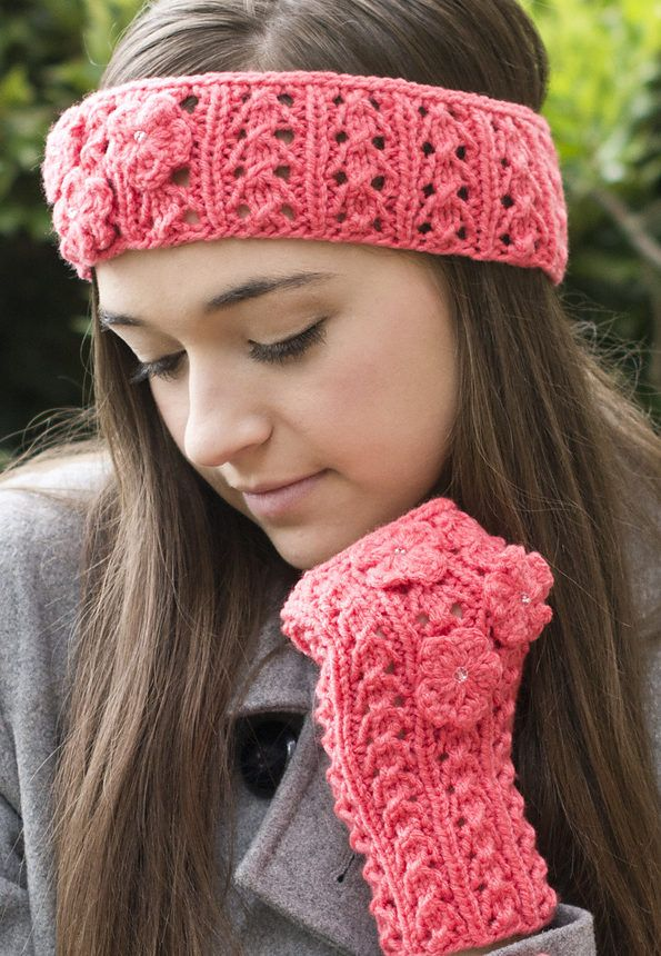 Free Knitting Pattern For Fun Floral Fingerless Headband And Mitts
