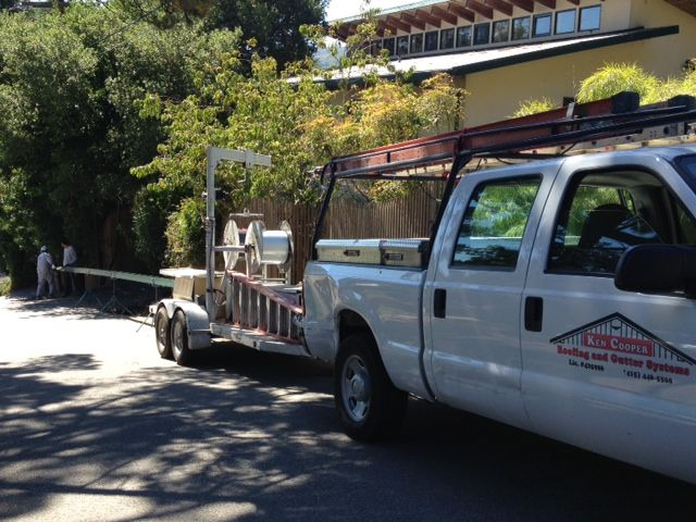 5 1 2 Pre Painted Seamless Steel Gutters Being Installed In Mill Valley Ca We Are Also Installing Rain Flow Gutter Guard Protec Gutter Guard Downspout Gutter