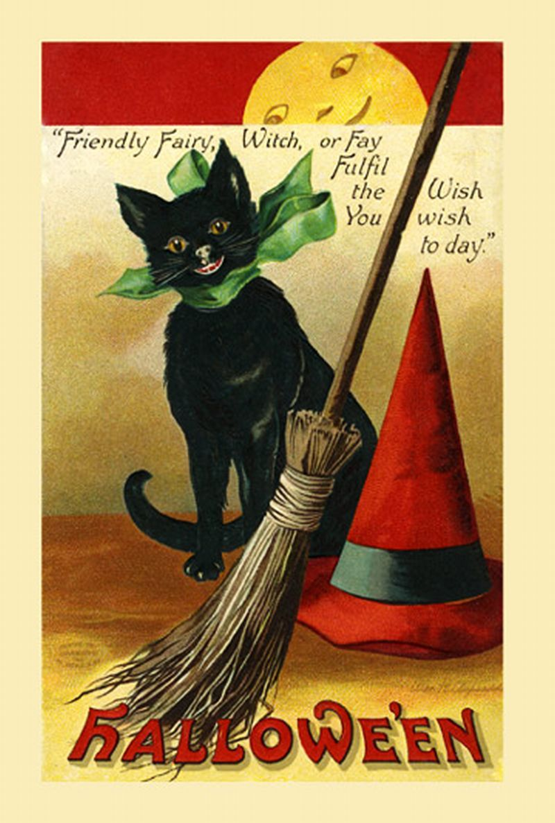 A Great Vintage Halloween Card Especially Because Theres Black Cat Description From