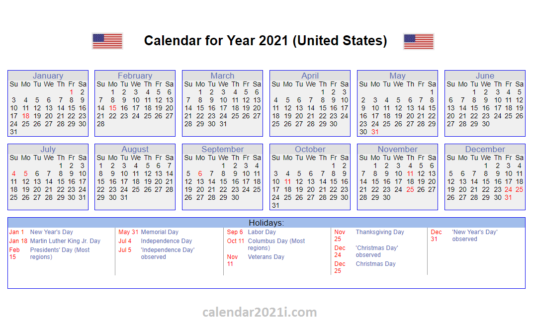 US 2021 Calendar with Holidays | 2021 calendar, Calendar template