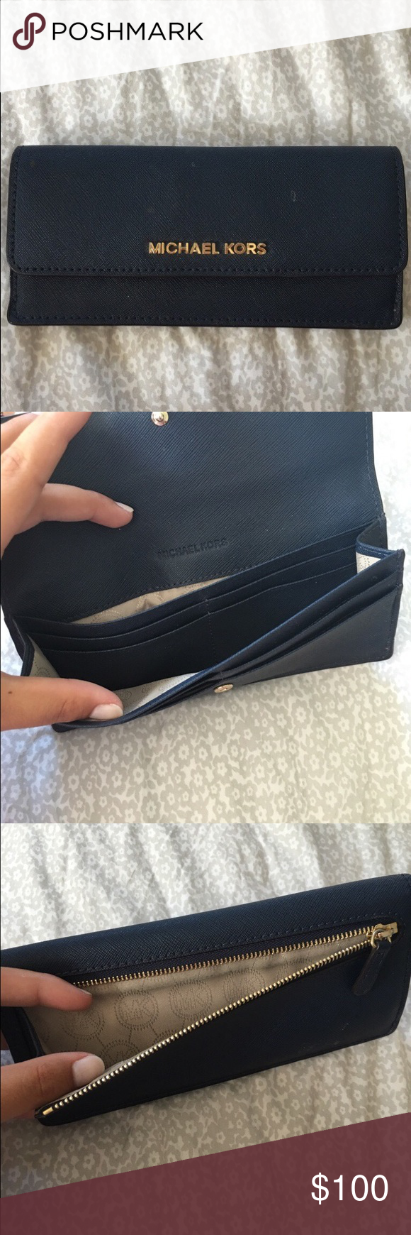 Navy Blue Michael Kors Envelope Wallet Envelope Wallet w two slots for cash and eight credit card holders Michael Kors Bags Wallets