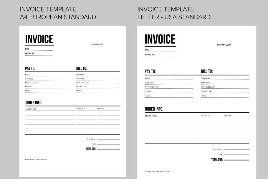 Colorful Corporate Identity Vector Invoice Template Invoice Template Word Printable Invoice