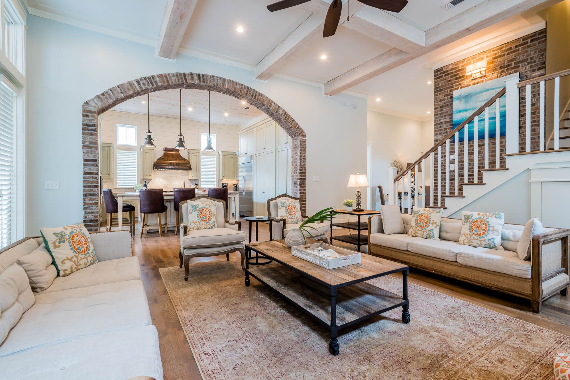 Sometimes The Interior Details Of A House Can Steal The Show We Are Absolutely In Love With These Brick Accents Bunk Beds Built In Bunk Rooms Built In Bunks