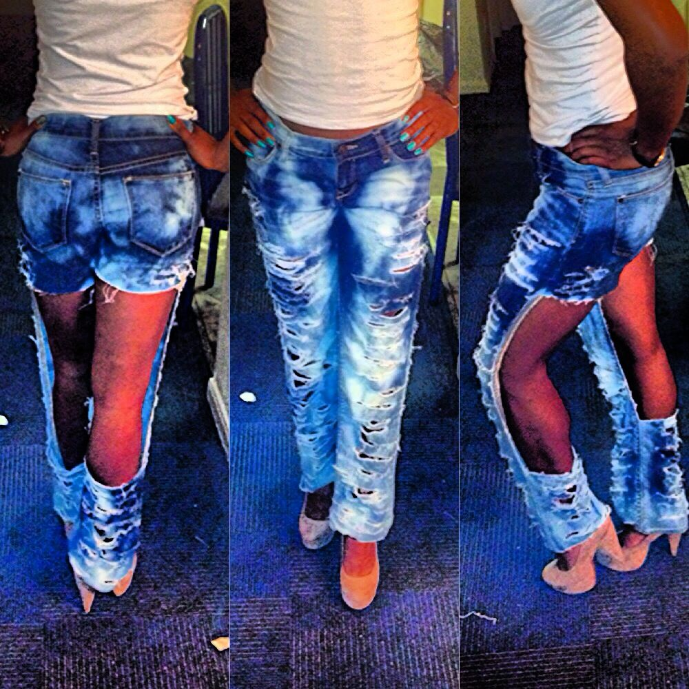 Cut Up, Distressed, & Bleached Jeans. FOR SALE, Size 2. Visit www.DesireByDestiny.weebly.com for more info!