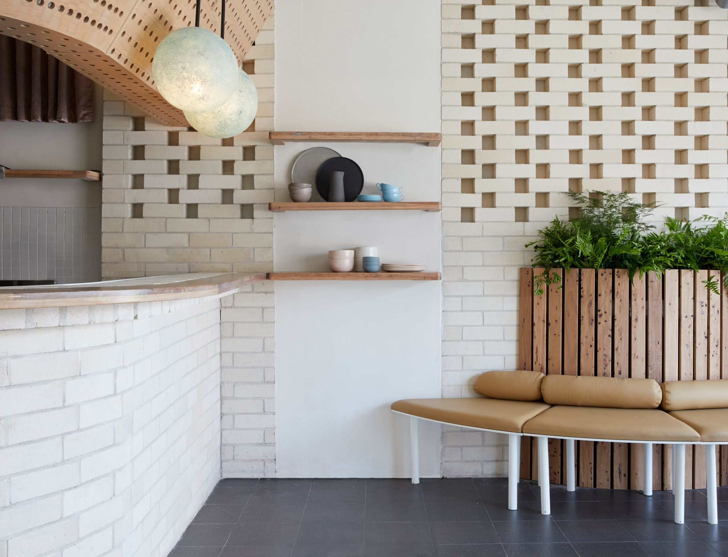 White brick and reclaimed eucalyptus wood fill Sydney Dessert ...