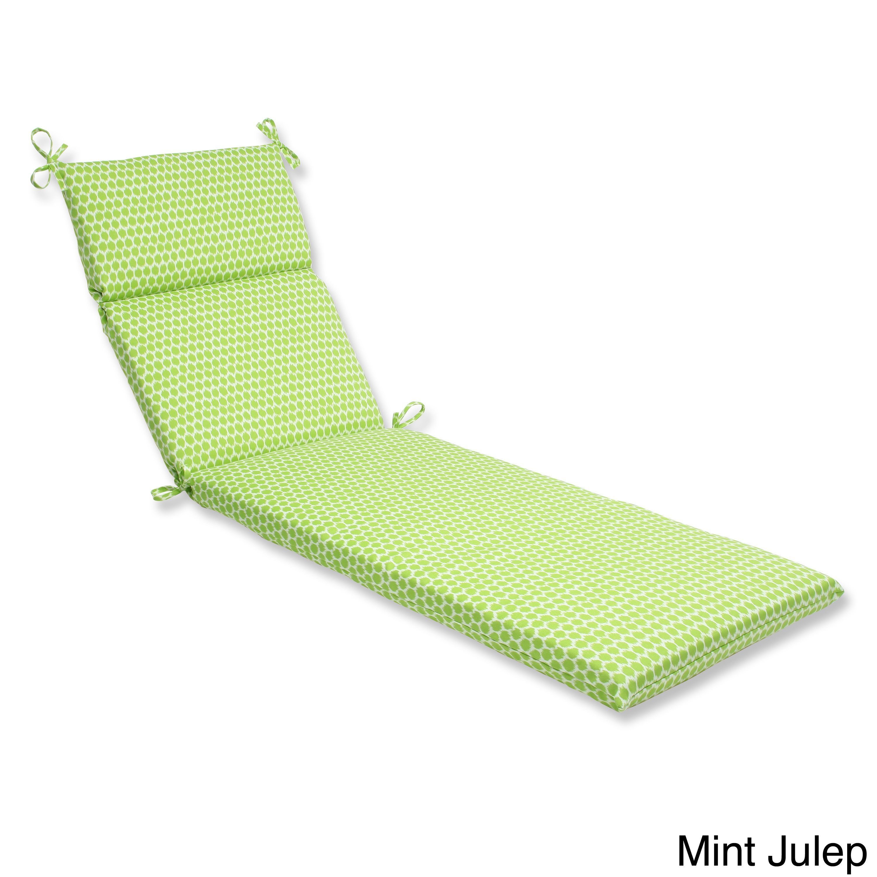 Pillow Perfect Seeing Spots Chaise Lounge Outdoor Cushion (Mint Julep),  Green (Fabric