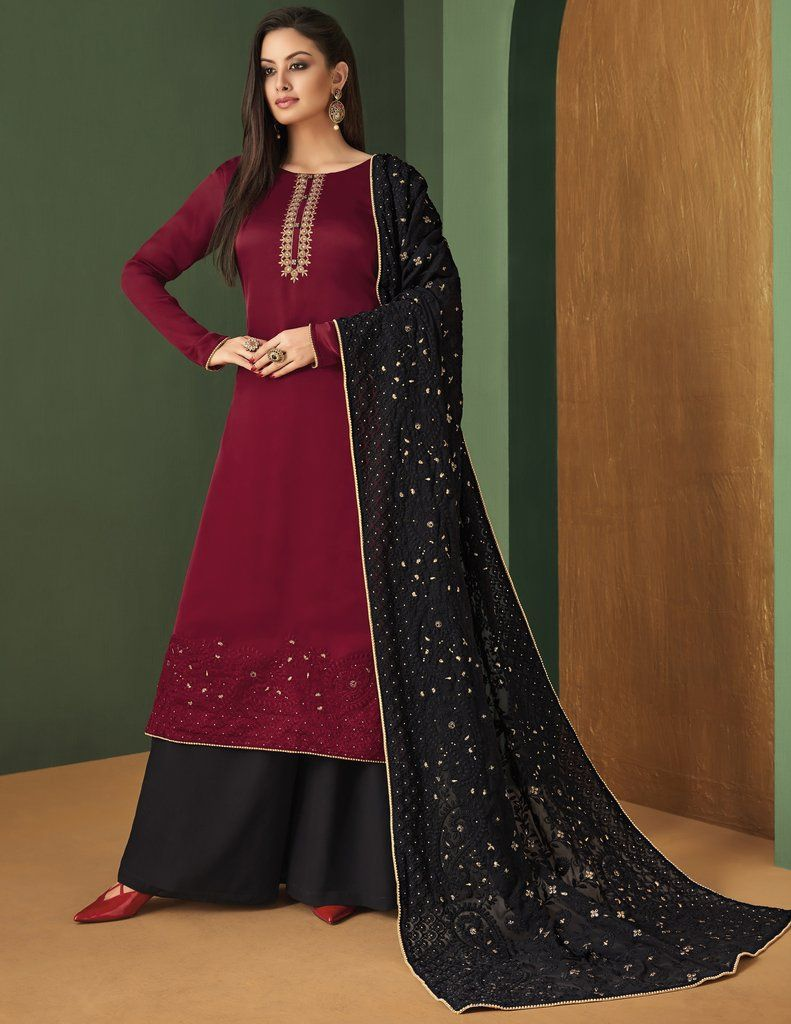 43da0d5b87 Maroon Black Palazzo Salwar Kameez Suit (Semi-Stitched). Find this Pin and  more on Traditional Indian Womens Clothing ...