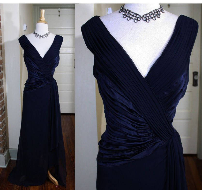 VTG 1920s 30s Style Silk Chiffon Old Hollywood Great Gatsby Formal ...
