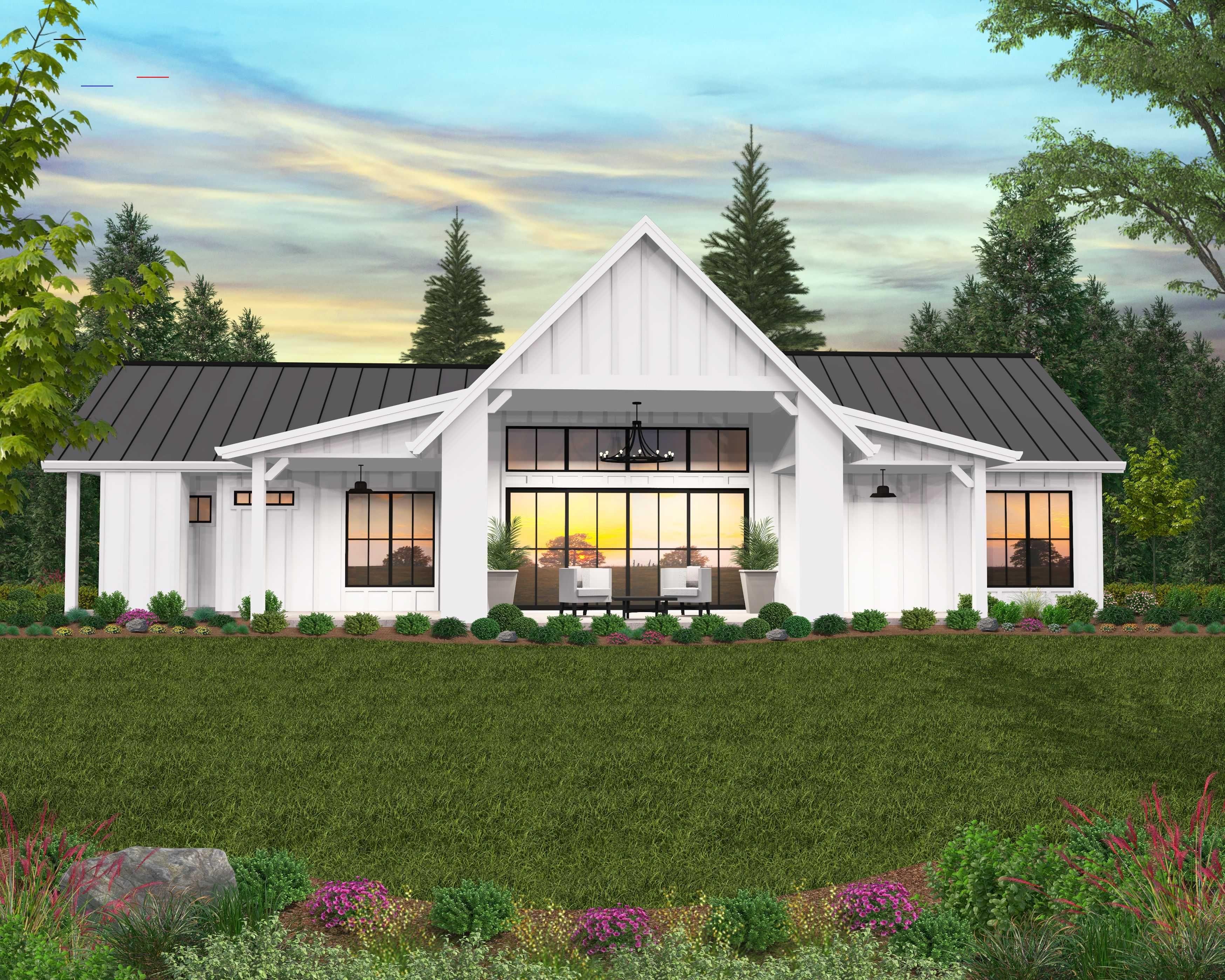 Cuthbert Modern Farmhouse Plan One Story Farmhouse