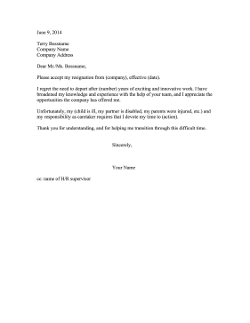 resignation letter due to depression