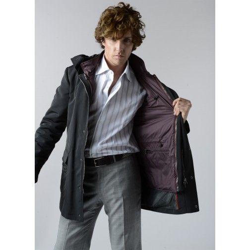 Sharp 2 in 1 weatherproof black coat