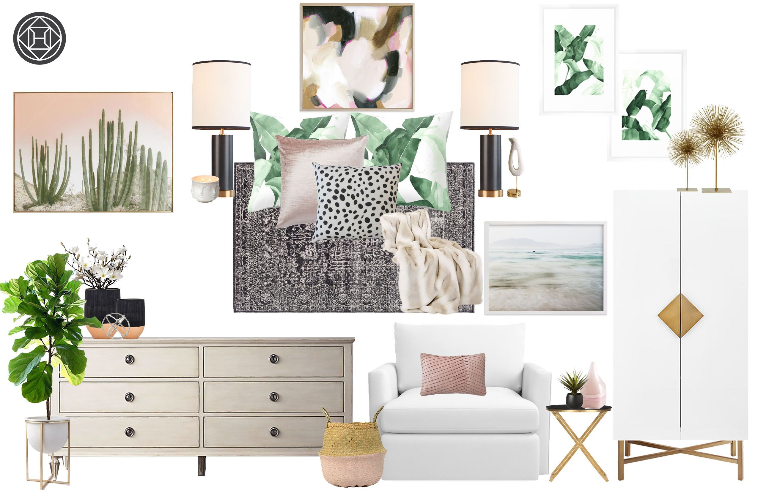 Contemporary, Eclectic, Bohemian, Glam Bedroom by Havenly ... on Bohemian Bedroom Ideas On A Budget  id=26622