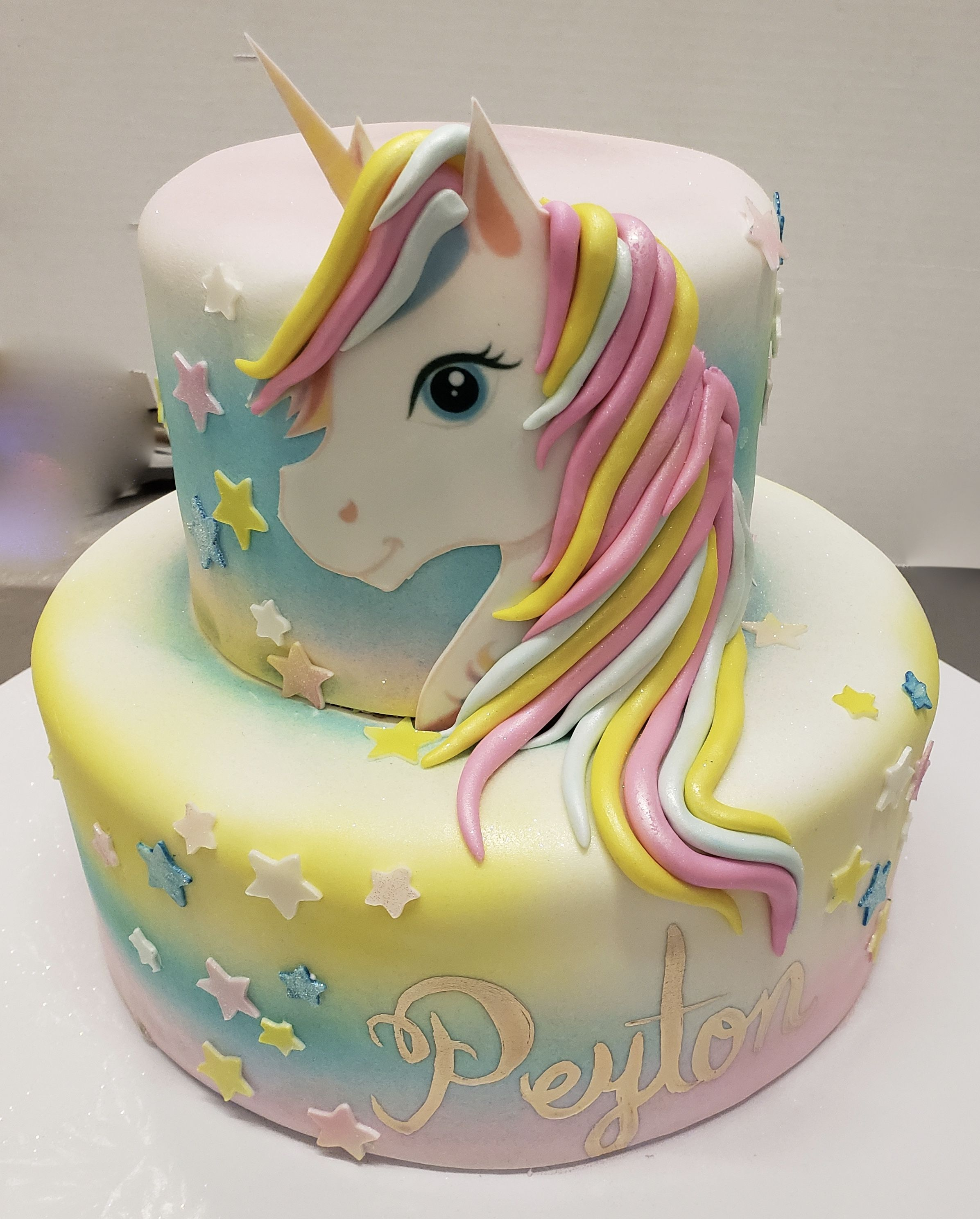 Calumet Bakery Fondant Unicorn Two Tier With Stars