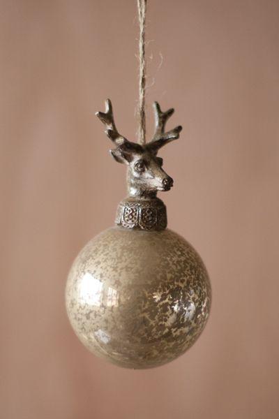 Glass Ball With Deer Christmas Ornaments Set 6 Christmas Ornaments Christmas Deer Antique Christmas