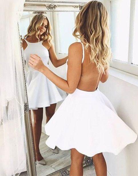 Halter Homecoming Dresses,Black and White Homecoming Dresses,Backless Homecoming Dresses,Cute Simple Graduation Dresses,HD224 #shortbacklessdress