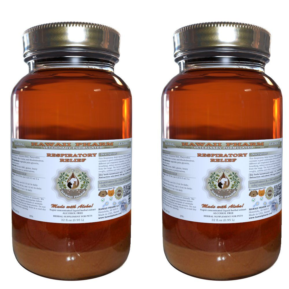 Respiratory Relief, VETERINARY Natural Alcohol-FREE Liquid Extract, Pet Herbal Supplement 2x32 oz