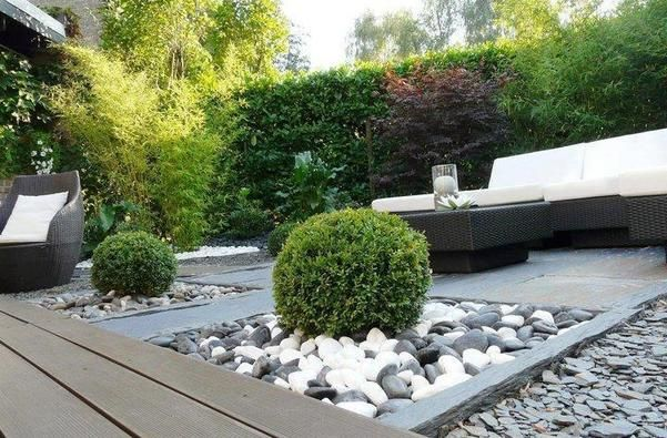 Terrasse en ardoise ambiance contemporaine jardin for Cailloux decoratif interieur