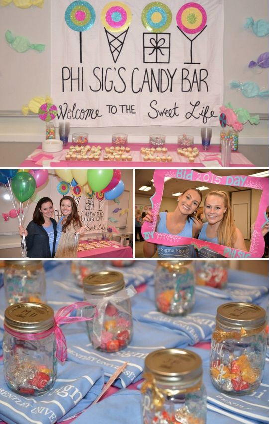 Candy Bar Event Theme Idea - Cute for Recruitment, Bid Day, Chapter Meeting, Big Little Reveal #biglittlereveal
