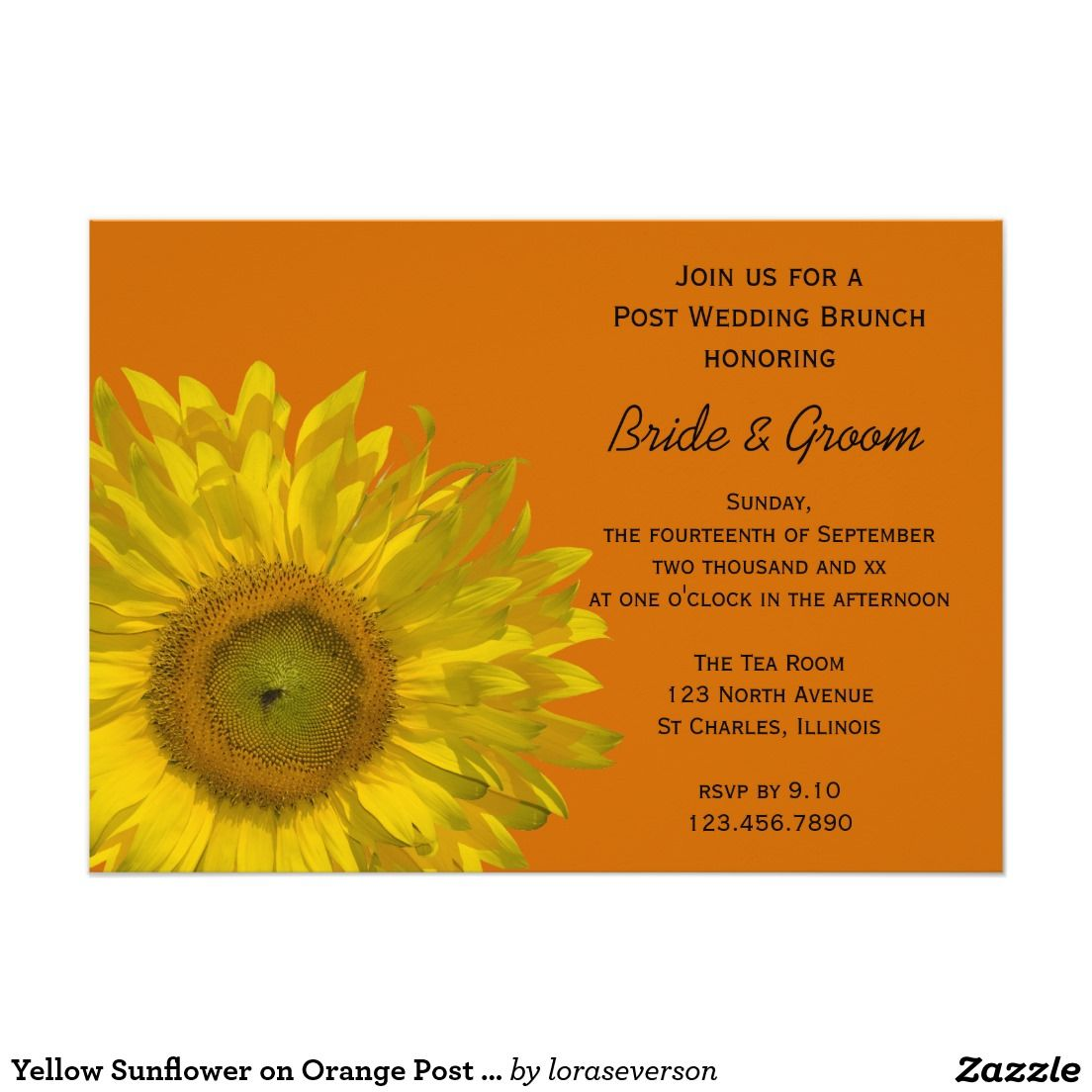 Yellow Sunflower On Orange Post Wedding Brunch Card Sunflowers