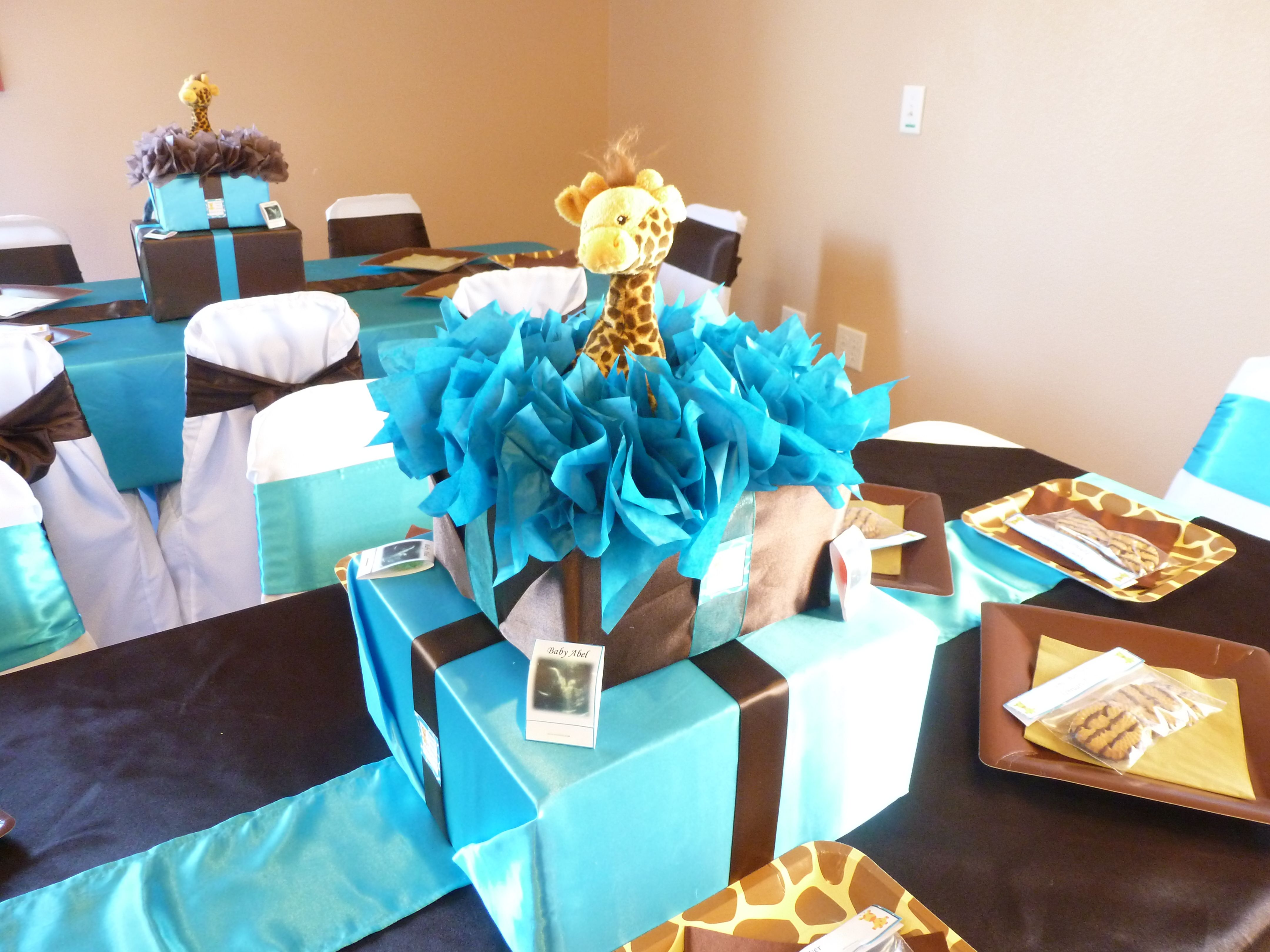 Giraffe Baby Shower Centerpiece Wrap Empty Boxes Do In Pink And