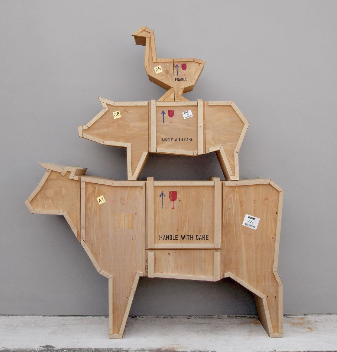 Animal Farm Wooden Cow Crate Storage Unit