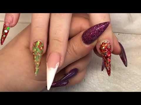 75 Acrylic Nails Christmas Glitter Design With 3d Nail Art