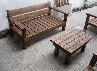 Sillones de 2 cuerpos para interior o exterior madera for Tablas de madera para exterior