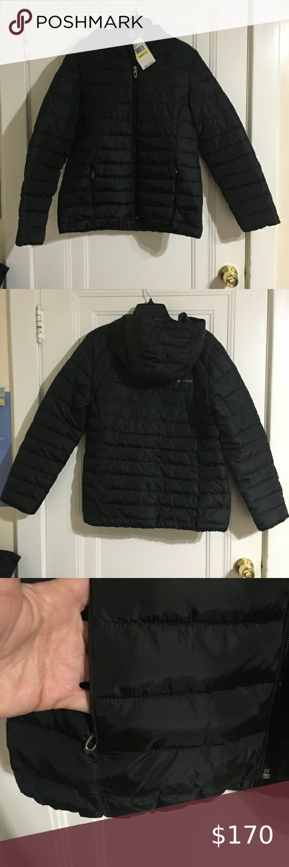 Spyder Black Puff Hooded Bomber Jacket Size Medium Spyder Black Puff Hooded Bomber Jacket Size Medium  Brand new with tags.  Jacket has 2 front zip pockets and inside pocket..  2019 -RR 0131 Spyder Jackets & Coats Puffers