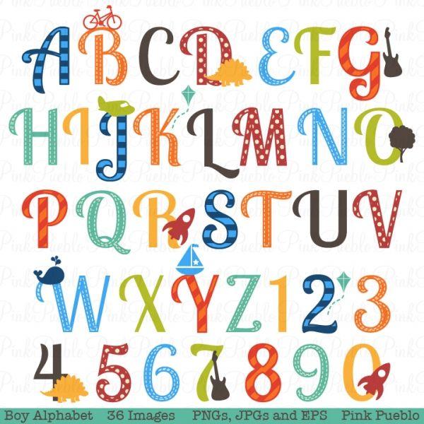 Boy Alphabet Clip Art Uppercase Luvly Marketplace Premium