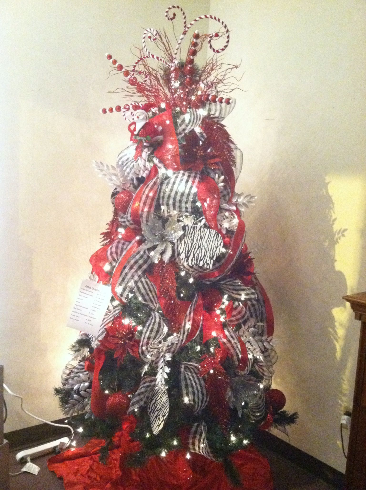 zebra red christmas tree - Christmas Zebra Decorations