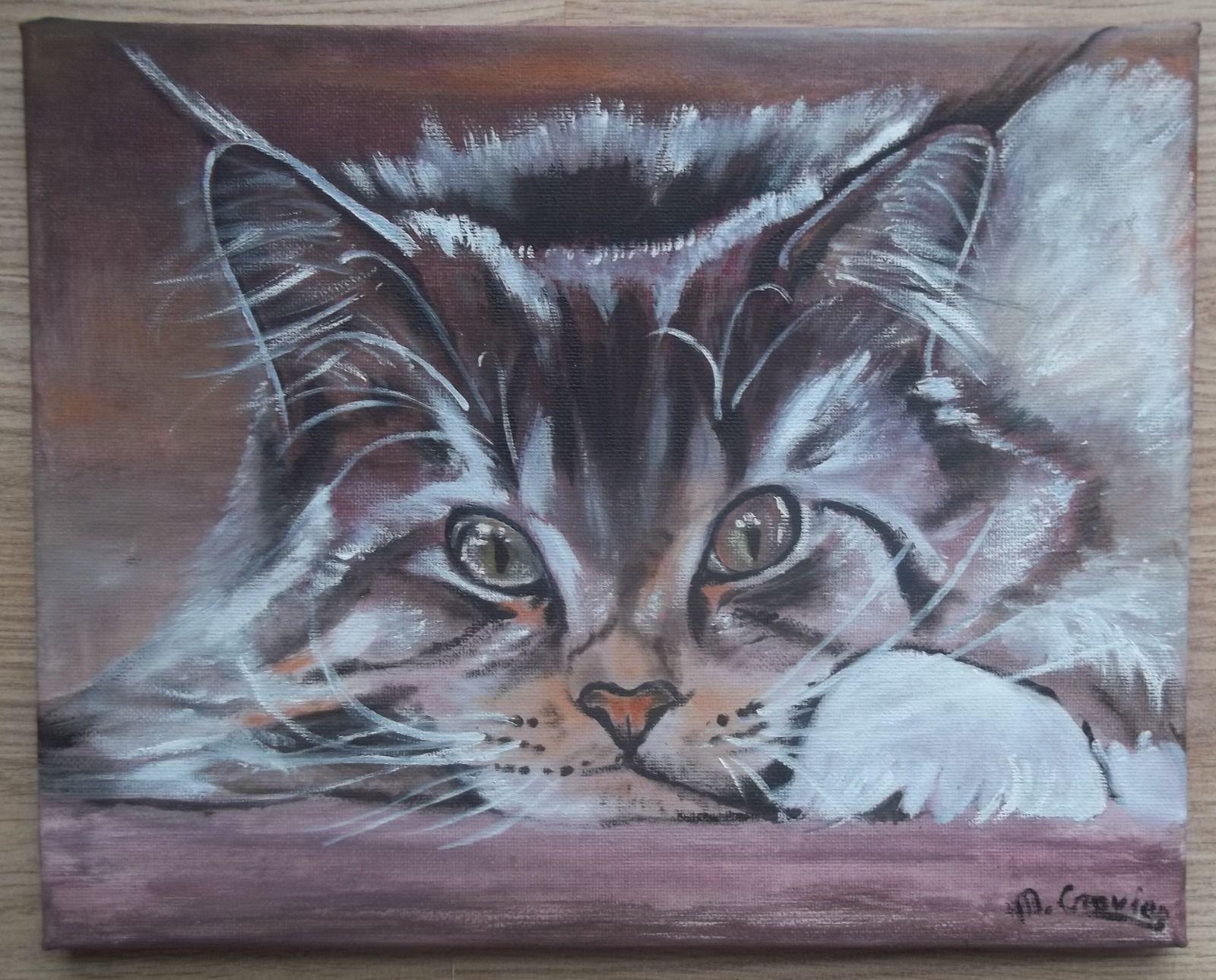 Tableau peinture huile toile portrait chaton chat me for Tableau peinture contemporain