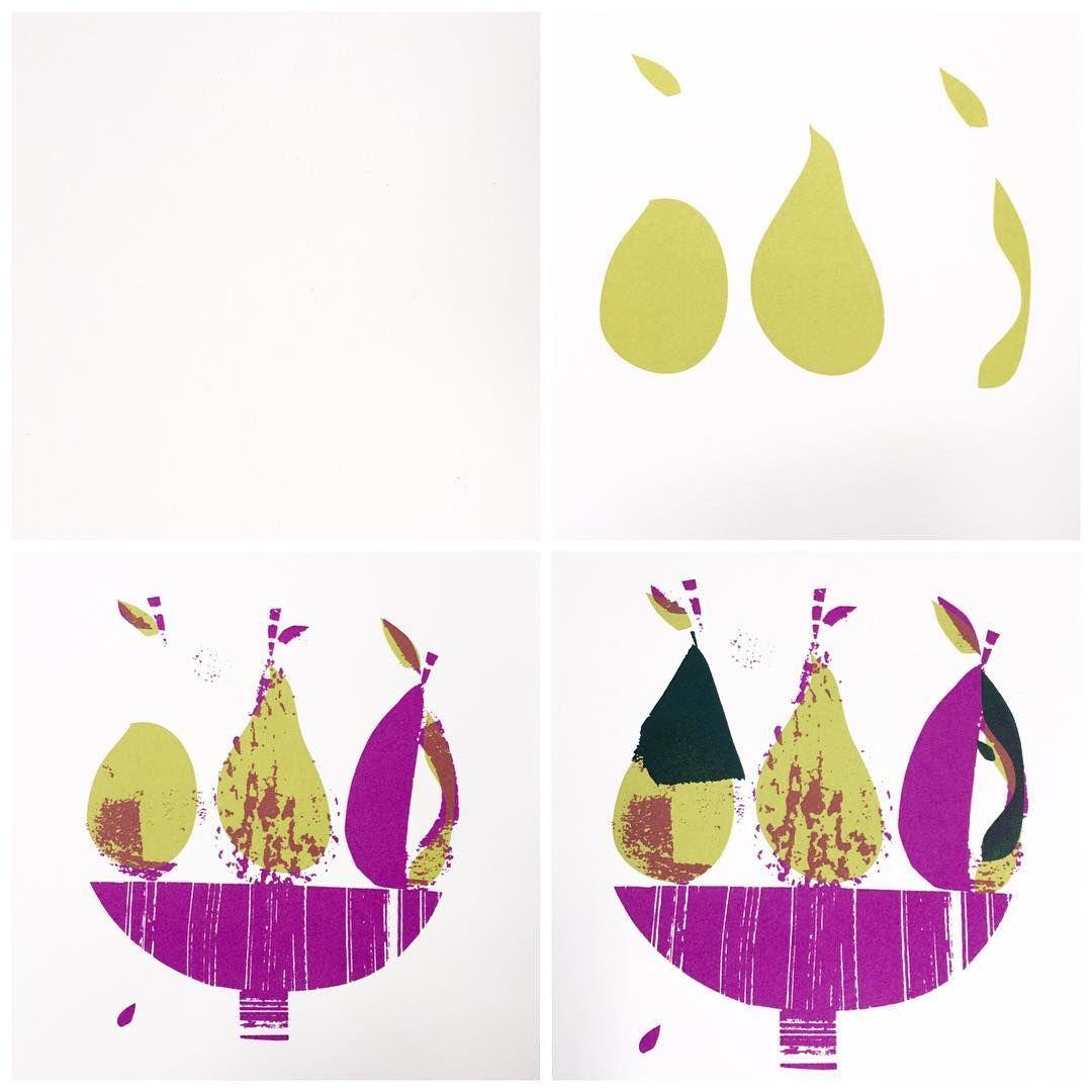 Anatomy of a 3 colour screenprint - pearstastic ! #screenprinting #pears #janeormes #purples#greens