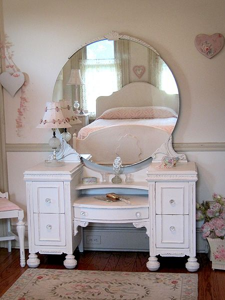 Enchanting White Antique Vanity with Round Mirror and Bench
