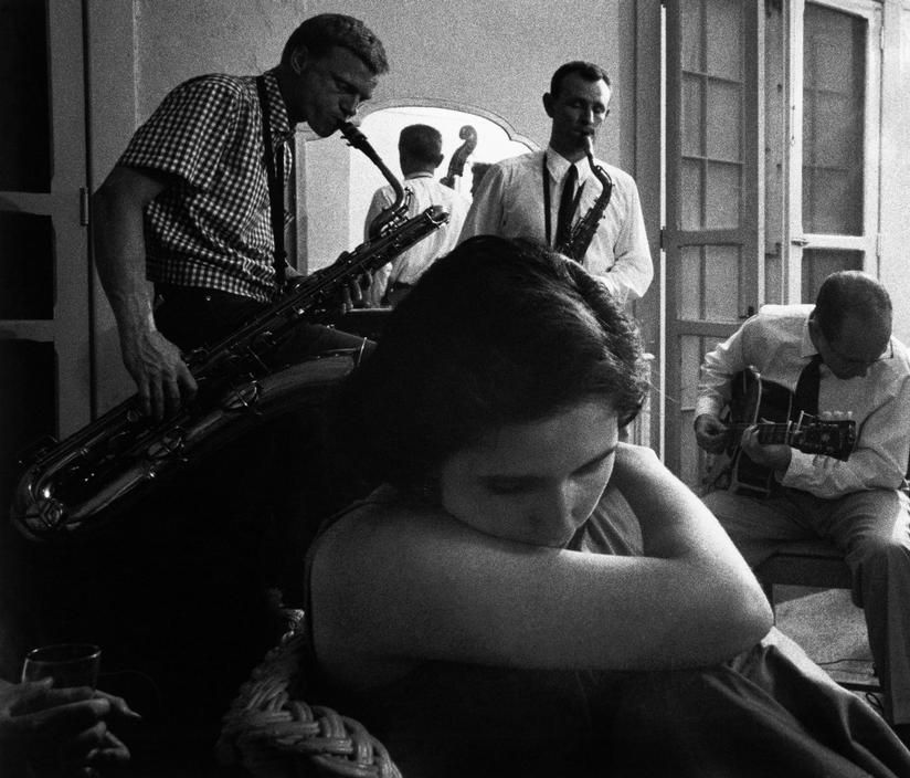 Gerry Mulligan, Jimmy Giuffre and Jim Hall at the Newport Jazz Festival 1957 by Dennis Stock