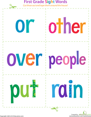 First Grade Sight Words: Or to Rain | Sight word flashcards ...