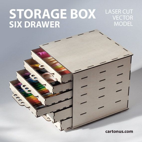 Storage box with drawers  Project plan for laser cut