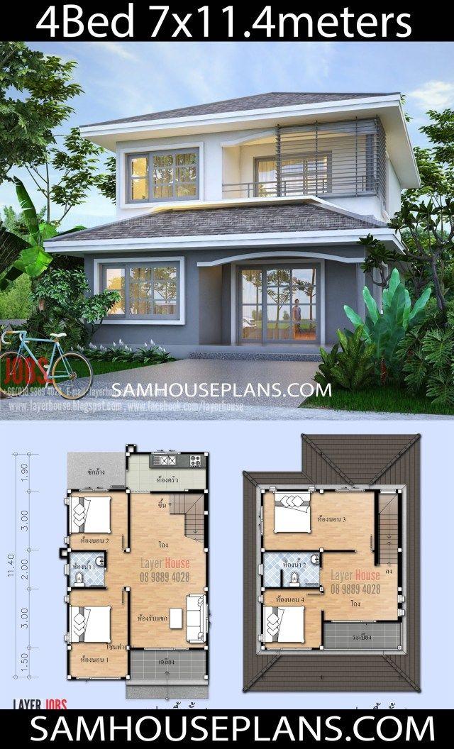 House Plans Idea 7x11 4m With 4 Bedrooms Sam House Plans Kerala House Design House Blueprints House Plans