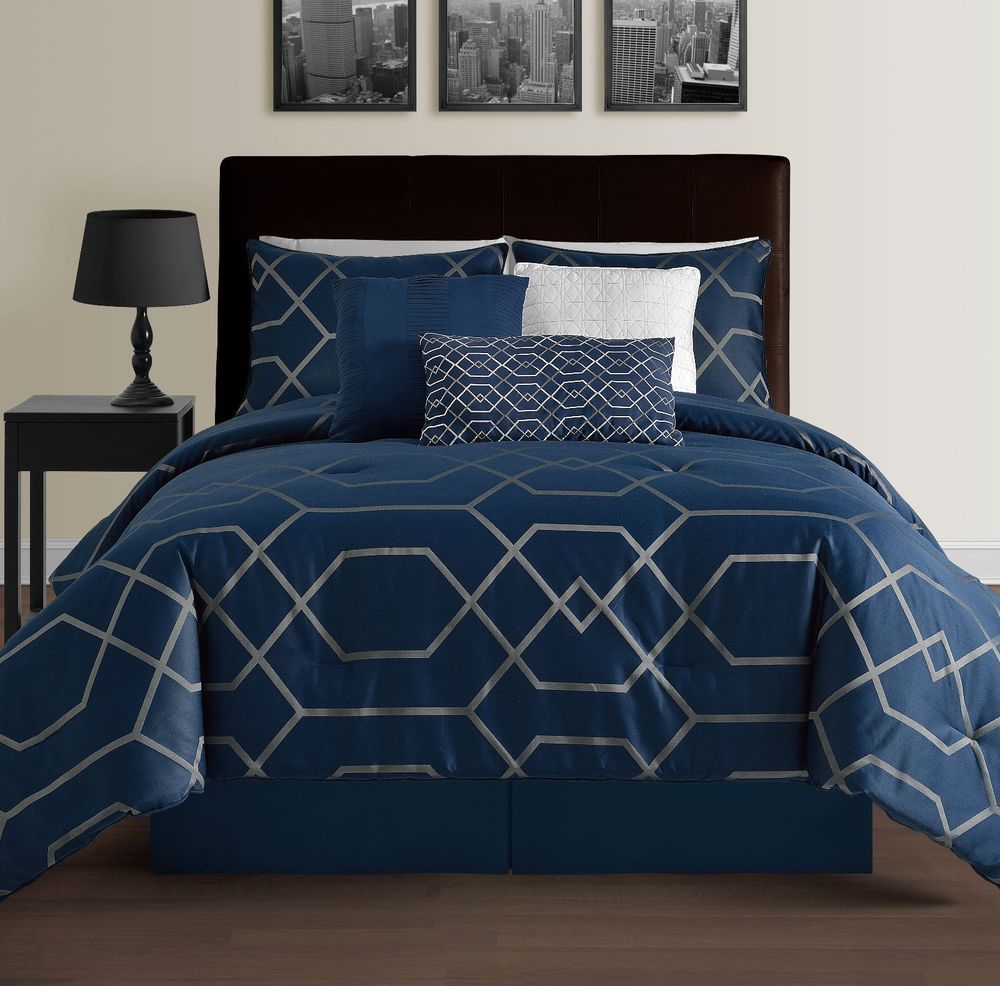 Hampton Navy Blue Queen Size Bed 7pc Jacquard Grey Geometric Mod Comforter Set Cozybeddings Traditional Ev Ofisi Nevresim Evler