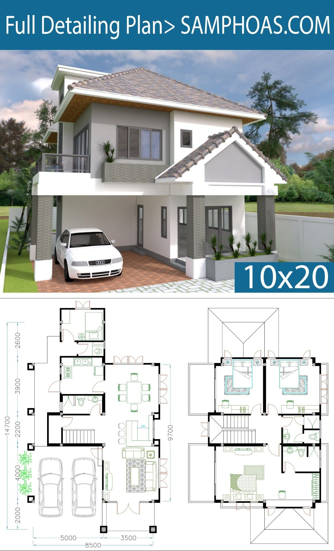 4 Bedrooms Home Plan 8 5x14 7m Samphoas Plansearch House Plans Duplex House Plans Modern House Plans