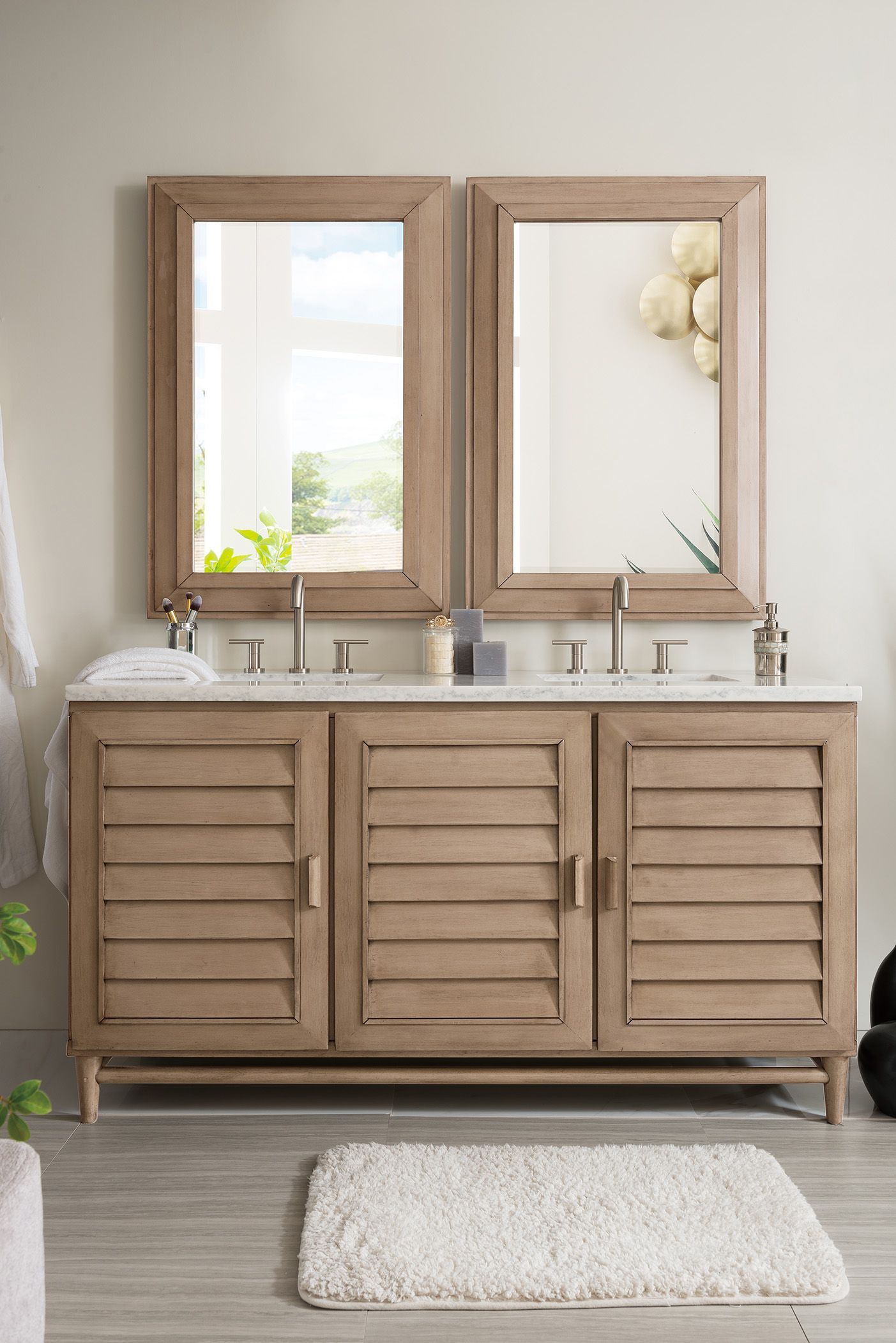 33 In H X 59 75 In W X 23 5 In Dthree Doors Cabinet With One Shelf Amp Amp Four Drawers 60 Inch Double Vanity White Vanity Bathroom Double Vanity Bathroom