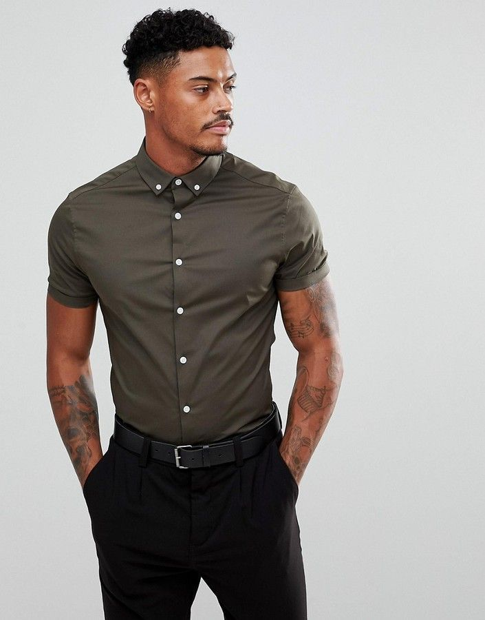 4a1ce66b1 Asos Skinny Shirt In Khaki With Short Sleeves And Button Down Collar