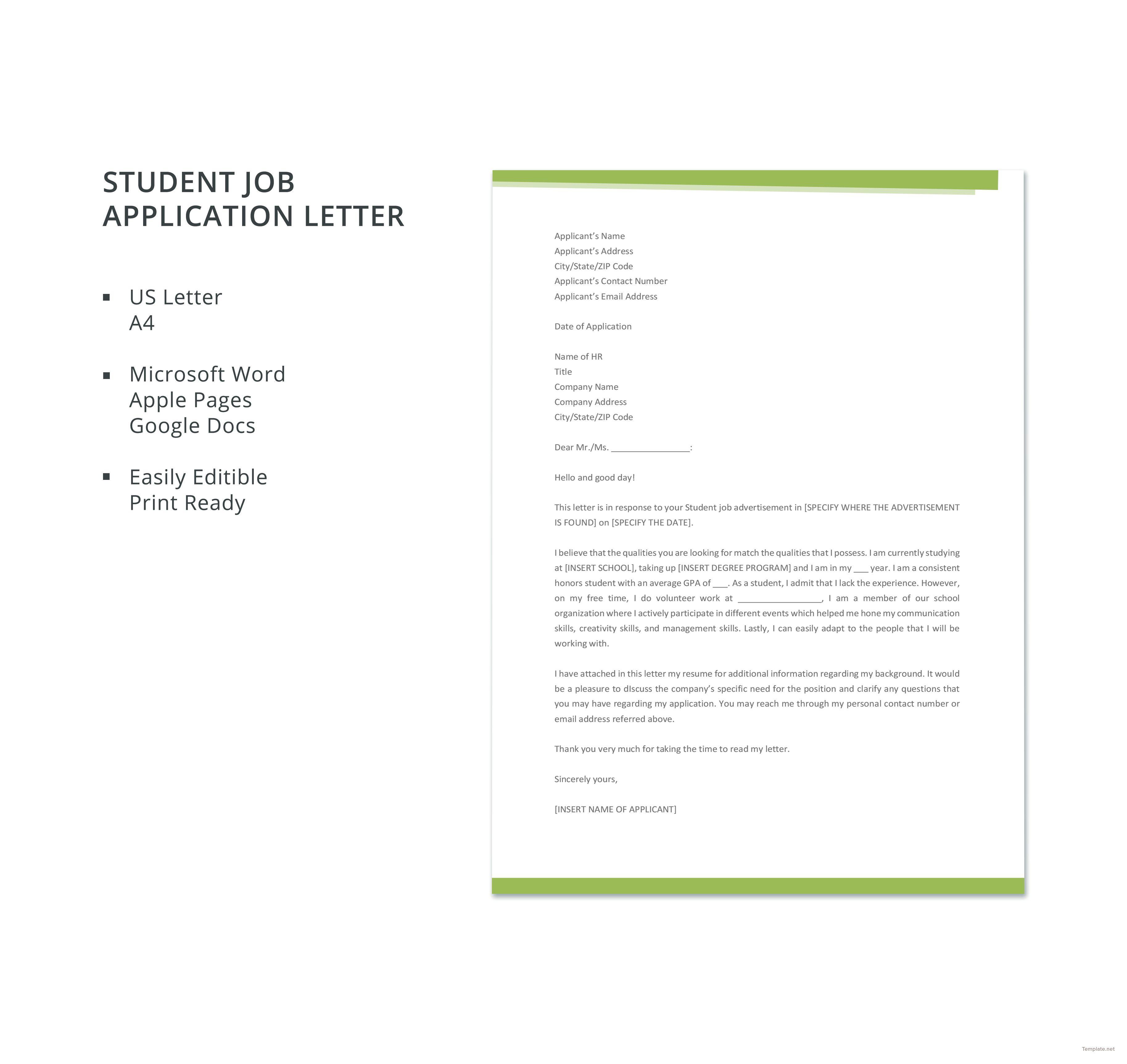 Free Student Job Application Letter Application Letter Template