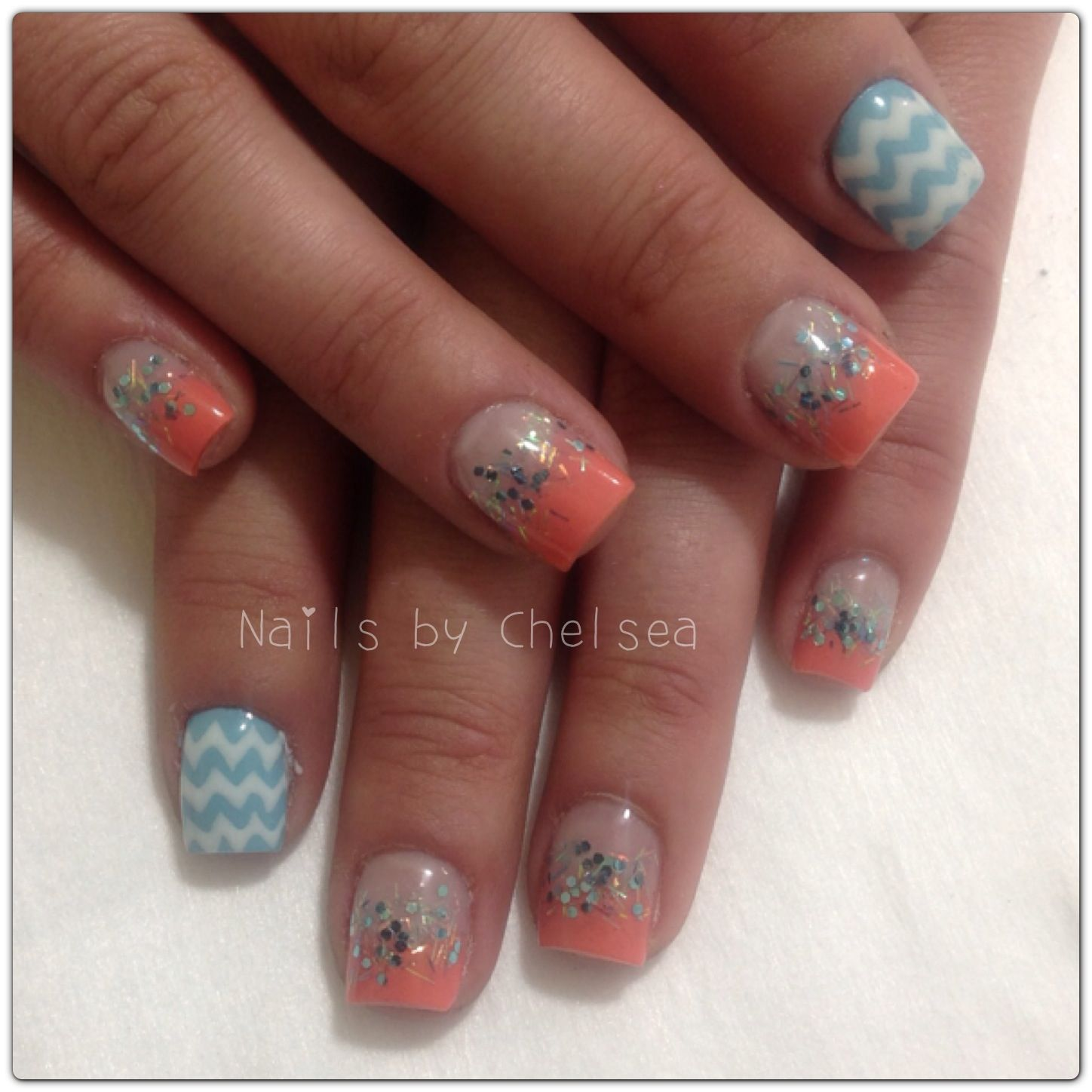 Coral gel polish and blue glitter and gel polish with hand drawn ...