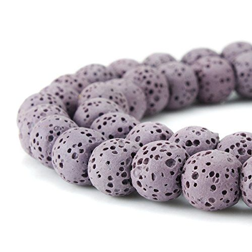 BEADNOVA 8mm Color Lava Beads Natural Crystal Beads Stone Gemstone Round Loose Energy Healing Beads for Jewelry Making 8mm, 48-50pcs, Black