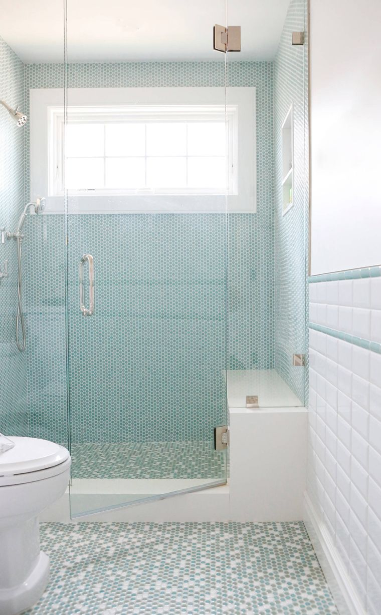 bathroom with walk-in shower and turquoise penny tile | bathrooms ...