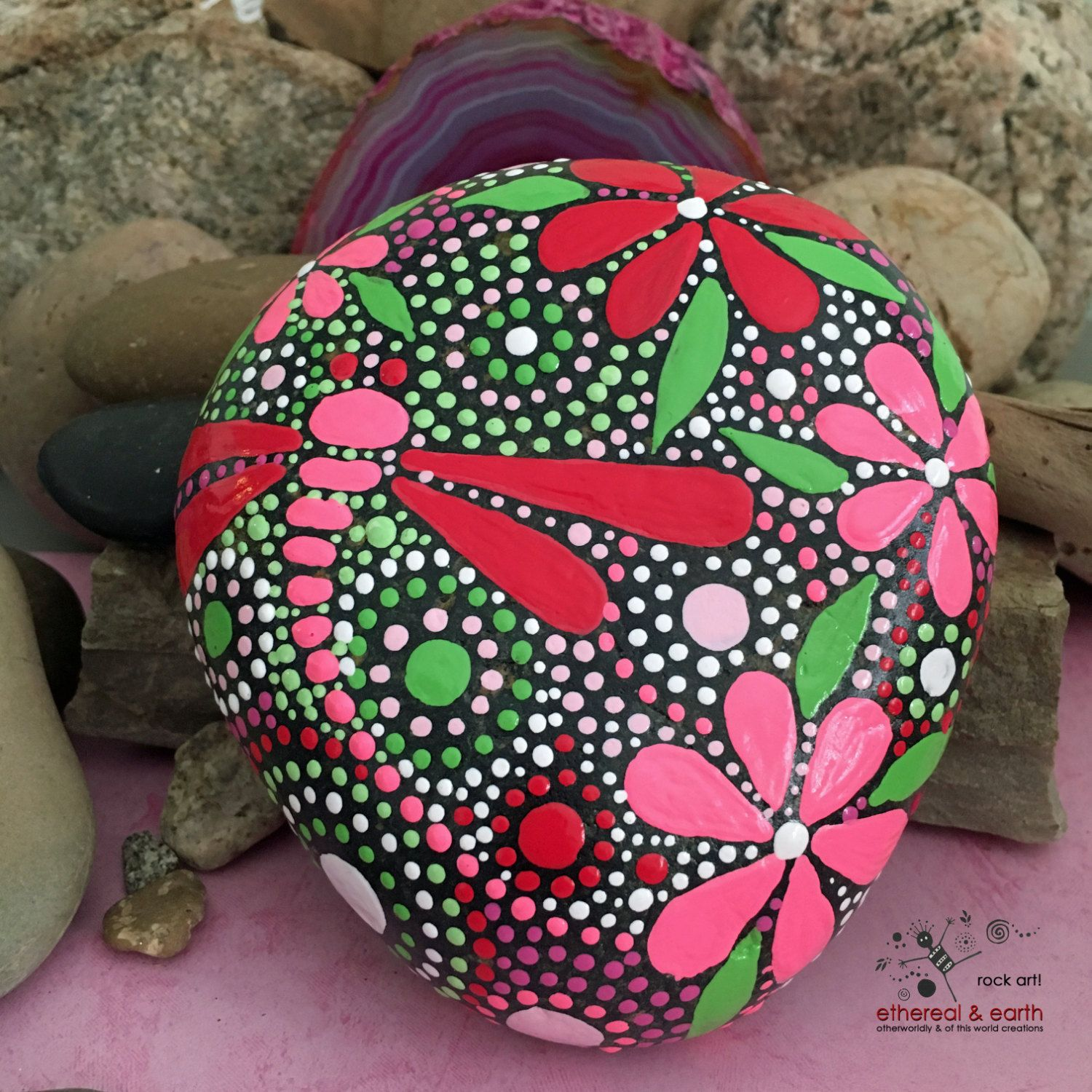 ROCK ART by ethereal & earth - otherworldly & of this world creations!  Hand Painted River Rock = fields of color collection #70 4.50 X 4.25 X 1 - 29 ounces  Dragonfly Motif - Mandala Inspired Design - Natural Home Decor - Garden Art - Housewarming Gift - Weather Resistant Lacquer Finish  As in nature no two ethereal & earth stones are alike. Each stone and its design is unique. I work with each stones shape, size, and texture to create a singular mix of art & nature. Brightly colored hand…