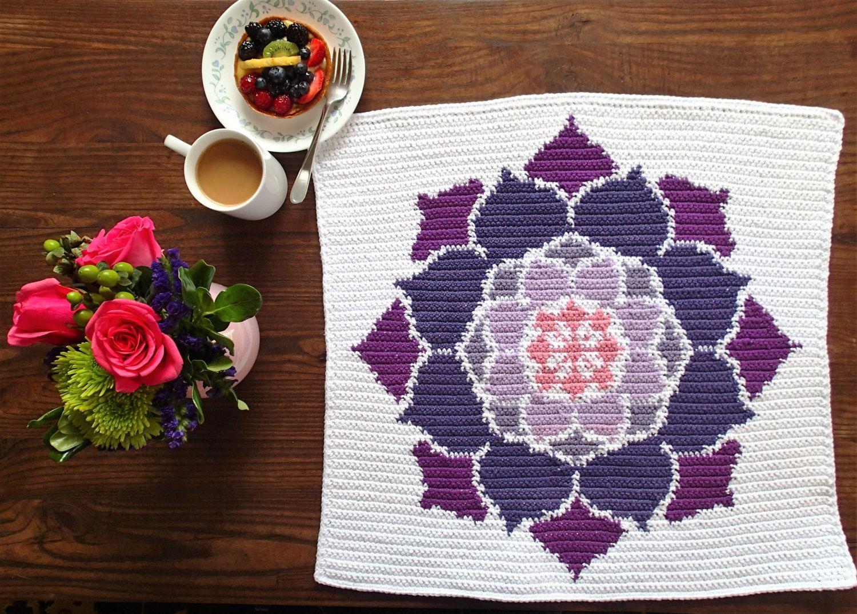 The Lotus Rose Crochet Pattern, Dish Towel, Car Seat Blanket, Lovey ...