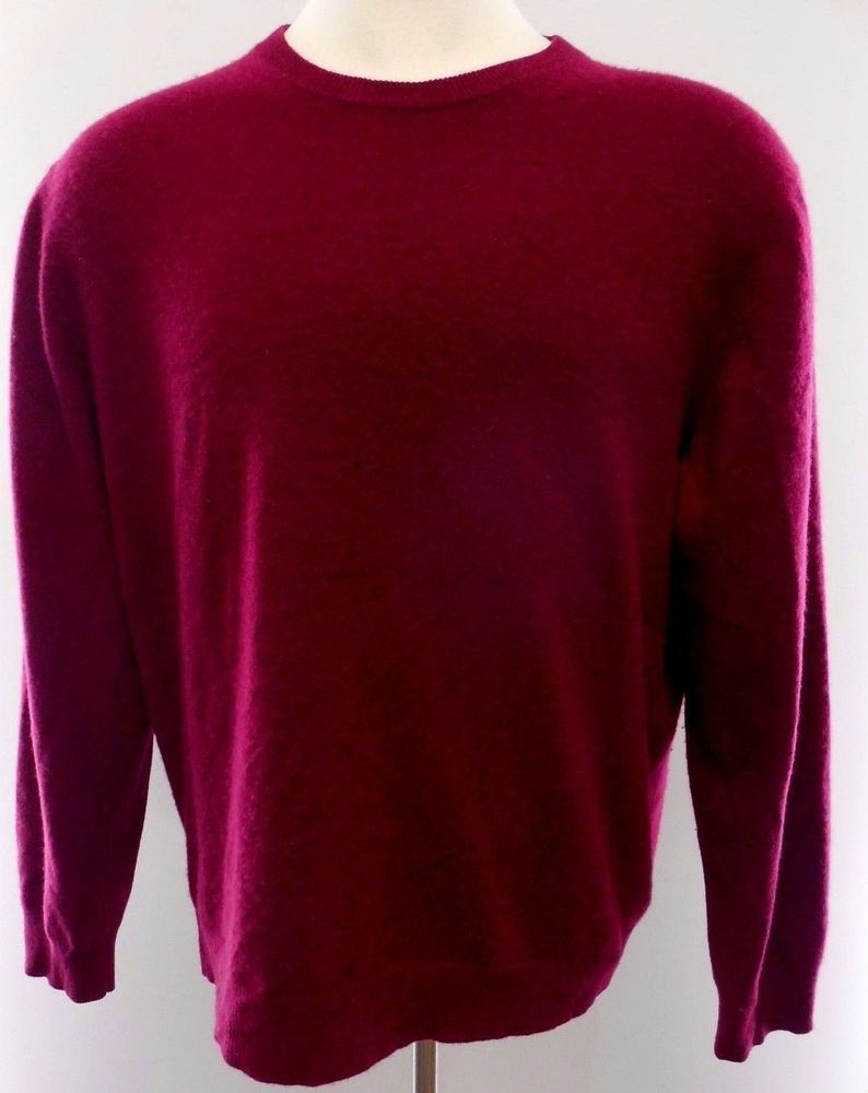 Grant Thomas Cashmere Sweater XL Mens Maroon Red Wine Size Man Two ...