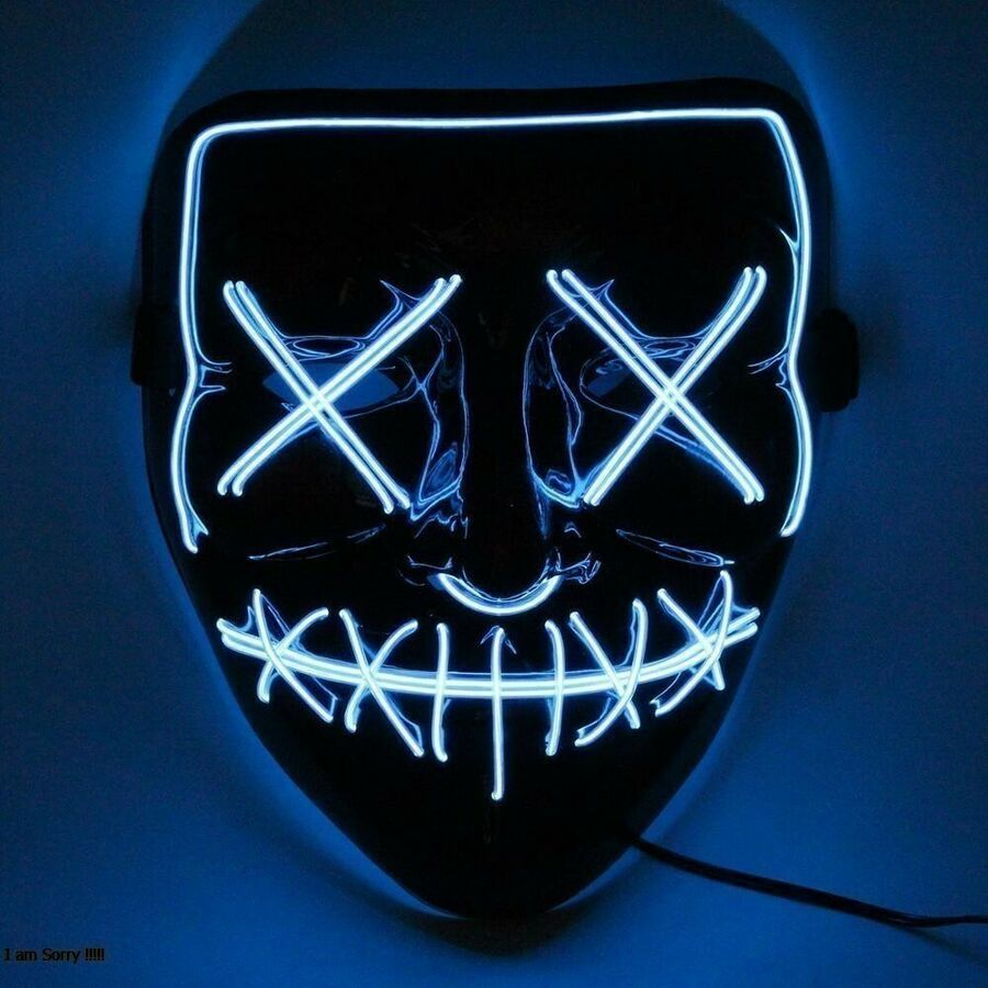 "Halloween Mask 3-Modes LED Light Up /""Stitches/"" Skull Mask The Purge Movie Blue"