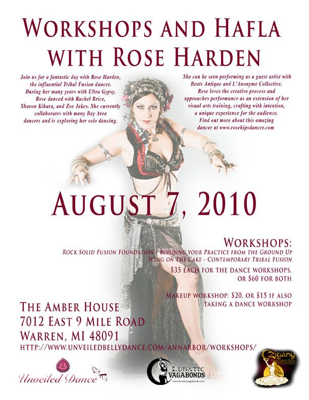 Rosehips Belly Dance Classes Workshops Bellydance Flyers